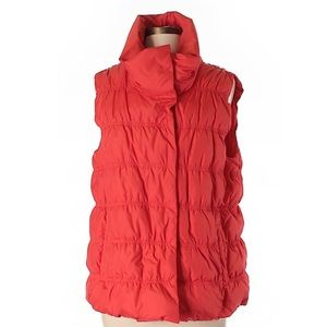 Eileen Fisher Down Vest Puffer Orange Red